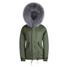 Al por mayor nueva marca último diseño verdadero perro mapache pieles con capucha parka militar masculina