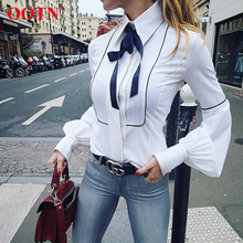 OOTN Elegant Lace Up Bow Tie Office Blouses Womens Lantern Sleeve Button Down White Shirt Female Top Tunic Autumn Fashion 2019