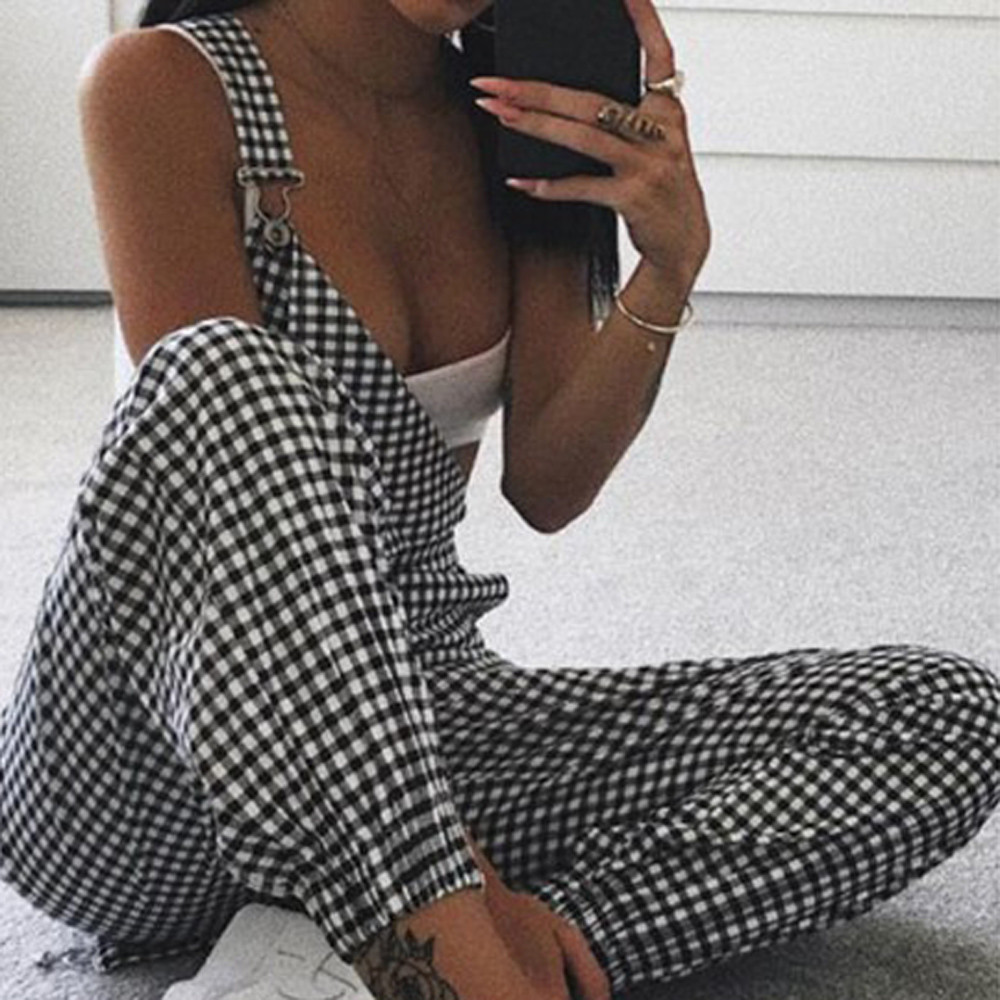 Women Autumn Jumpsuit Sleeveless Polyester Dungarees Loose Plaid Long Playsuit Jumpsuit Pants Black Trousers Summer A3