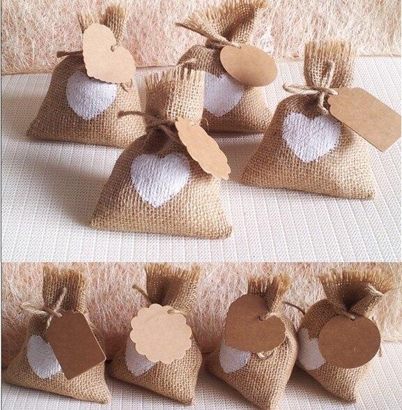 Diy Burlap Sack: White Heart Wedding Candy Bag With DIY Kraft Tag/ Burlap