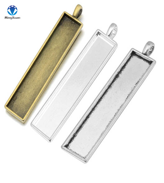 MINGXUAN 10pcs/lot Retro 10X50mm Rectangle Inner Size Pendant Settings Cabochons Bases Bezel Blank Trays Fit Cabochon Cameo DIY 10pcs stainless steel pendant settings clasps cabochon base bezel trays blank fit 6 8 10 12 14 16 18 20mm cabochons cameo diy
