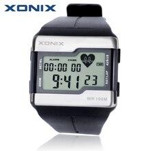 Лидер продаж! Xonix Мода сердечного ритма Мониторы Для мужчин Спортивные часы Водонепроницаемый 100 м цифровые часы Одежда заплыва дайвинг наручные часы Монтре Homme