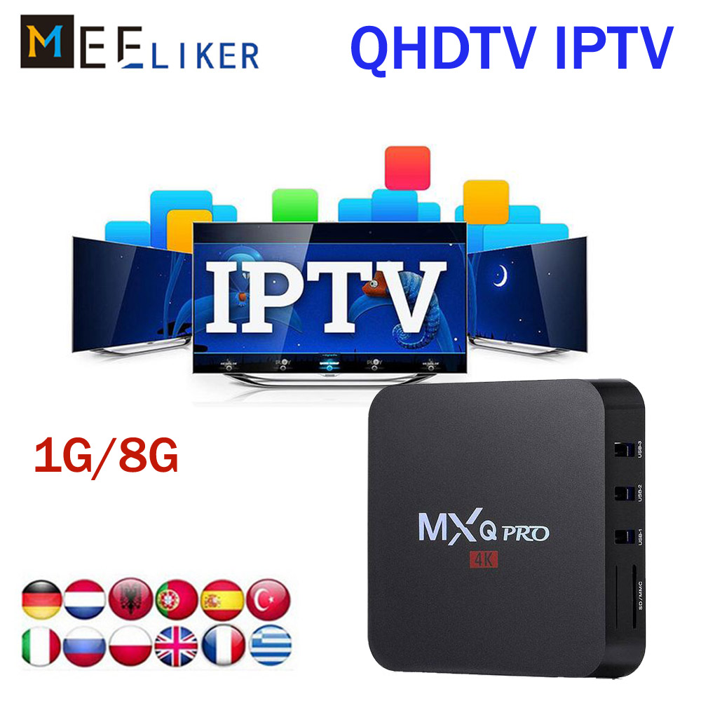 US $30 5 5% OFF|Arabic IPTV Box MXQ pro with 1 Year QHDTV IPTV Subscription  code apk 1300 Channels Europe French Africa 1G RK3229 android 7 1-in