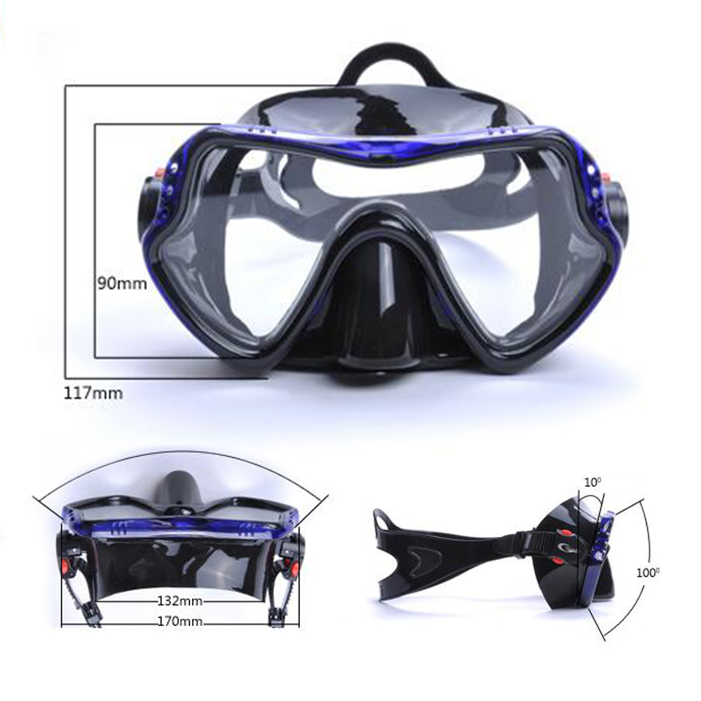 YFXcreate Professional Scuba Diving Mask and Snorkels Anti-Fog Goggles Glasses Diving Swimming Easy Breath Tube Set 2