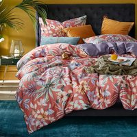Red purple bedspread Luxury Egyptian cotton Satin bedding sets floral leaf print queen pastoral bed linen
