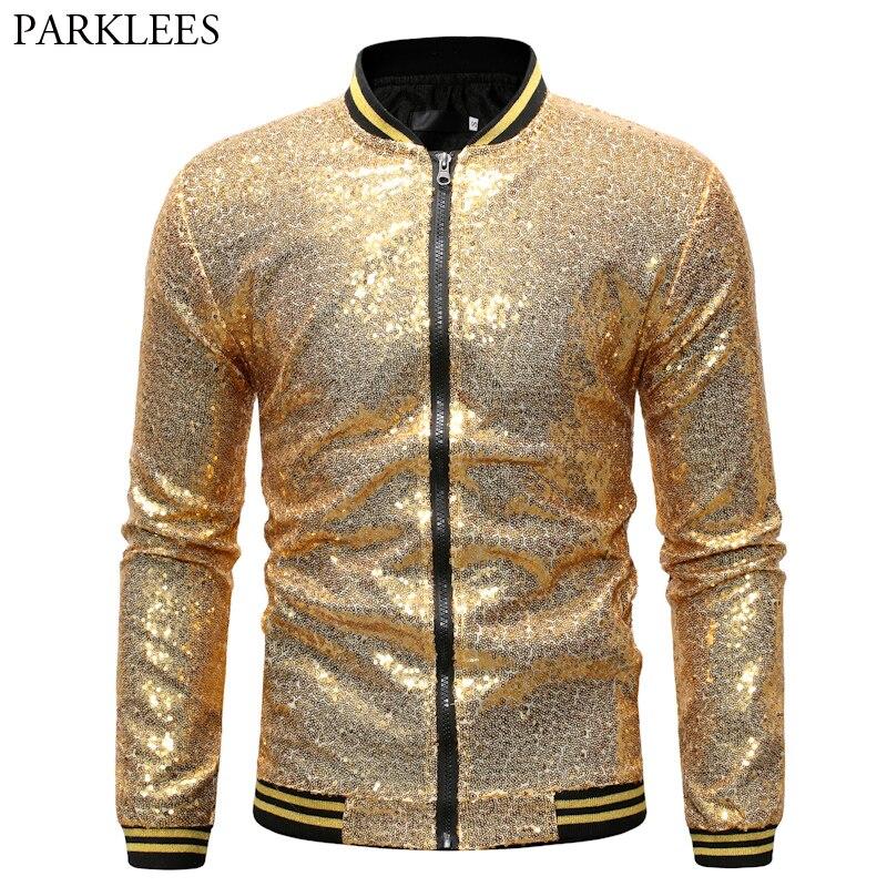Vestes et manteaux en paillettes dorées brillantes pour hommes 2019 Veste de Baseball en paillettes flambant neuves hommes Club DJ stade chanteur Veste Homme XXL