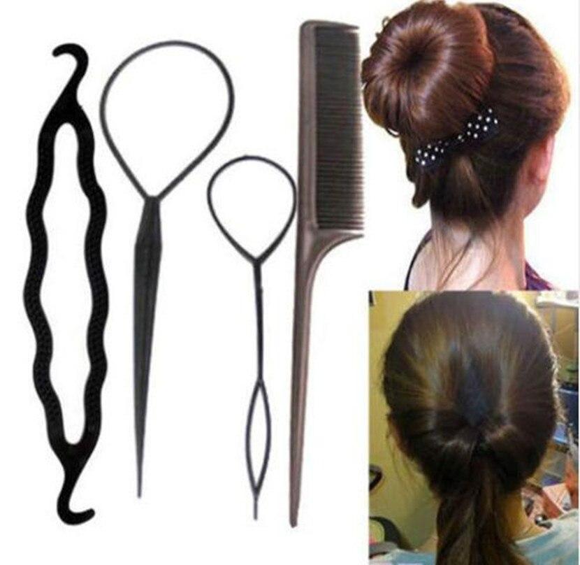 Fashion Hair Twist Styling Clip  Women DIY Tool Stick Bun Maker Braid Hair Band Headband Hair Accessories 4pcs/set