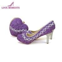 2018 церемония взрослых Обувь на высоких каблуках с сердцем Форма клатч фиолетовый жемчуг ручной работы Свадебная вечеринка Обувь и подходящ
