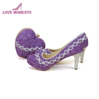 2018 Adult Ceremony High Heel Shoes with Heart Shape Clutch Purple Pearl Handmade Wedding Party Shoes and Matching Bag Plus Size