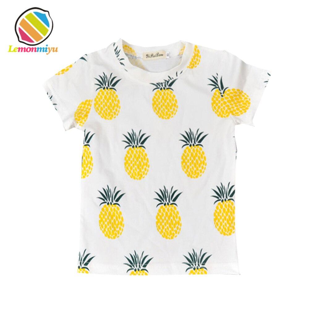 2016 Bébé D'été doux coton Enfants Hauts de Bande Dessinée Ananas Motif Filles T-shirt Vêtements Enfants