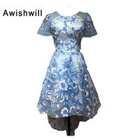 Short Front Long Back Lace Evening Dress With Short Sleeve Banquet Formal Party Gowns High Low