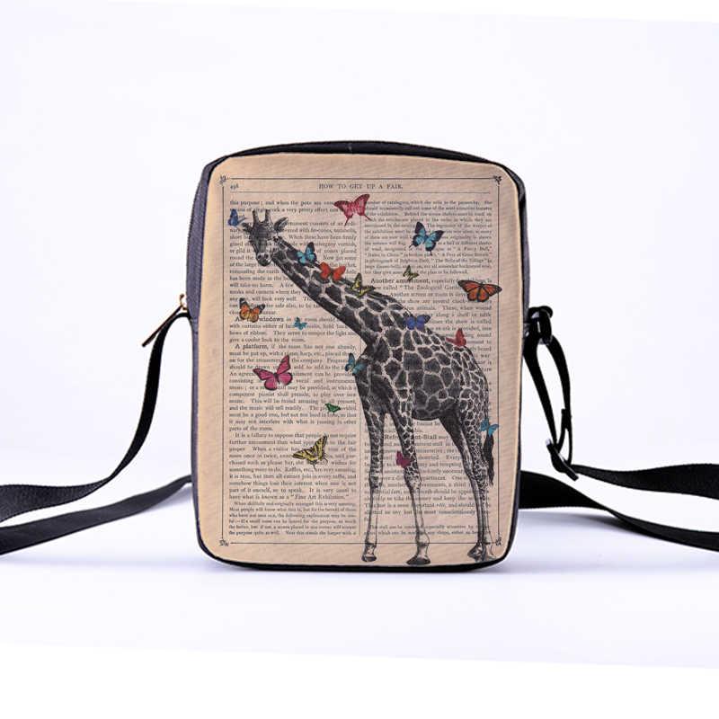 CROWDALE DIY Women Crossbody Bags The giraffe Printing Canvas bag for Kid Children  Messenger Bag Bolsos
