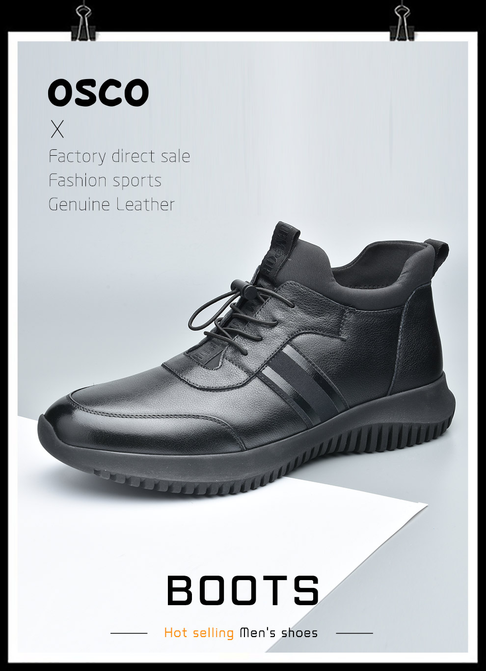 Osco Winter Shoes Men Genuine Leather High Top Sneakers Outdoor Fashion Casual Flat Plush Warm Snow Shoes Male Slip On Loafers Basic Boots