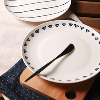 High Quality Brand Ceramic Plate Dish 45 Bone China Line Tri Angle Printed On Glazed Western