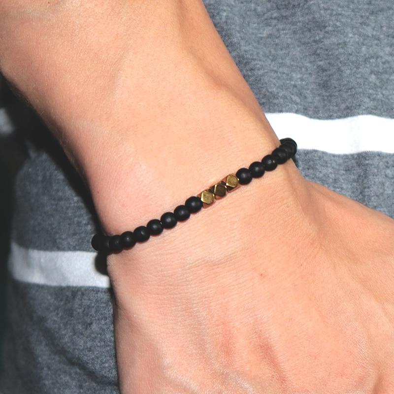 Image 5 - Античный 4 мм черный обсидиан браслет простой молитва йоги бусины  мала Braslet для мужчин нарукавная повязка ювелирные изделия Homme  PulseiraПлетеные браслеты