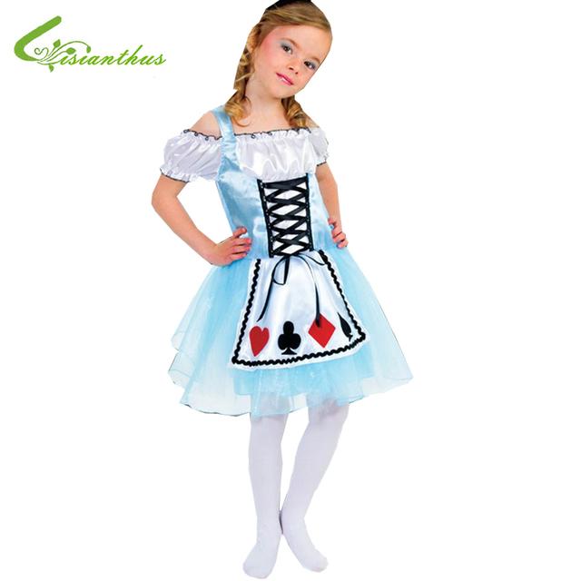Meninas Trajes de Halloween Alice no País Das Maravilhas Vestido Cosplay Stage Desgaste Conjuntos de Roupas Crianças Roupas de Festa Fantasia Bola Livre do Navio Da Gota