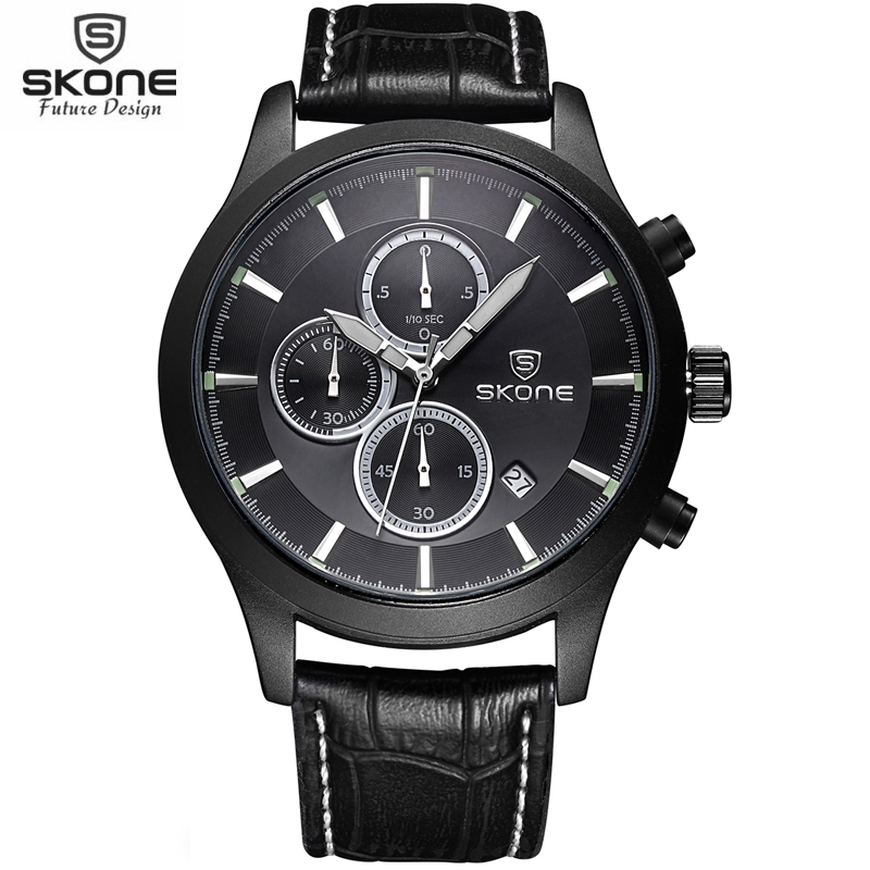 Chronograph 6 Hands 24 Hours Function Watches Men's Top Brand SKONE Military Watch Relogio Masculino Leather Luxury Men Watch skone relogio 9385