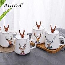 RUIDA Creative animal heat-resistant Mug cartoon with lid 450ml cup deer coffee ceramic mugs children office Drinkware gift