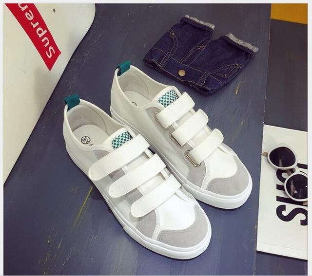 Primavera Otoño nuevos zapatos de lona de la edición de han de ocio alumnas HOOK & LOOP zapatos perezosos, zapatos de tela zapatos planos de las mujeres