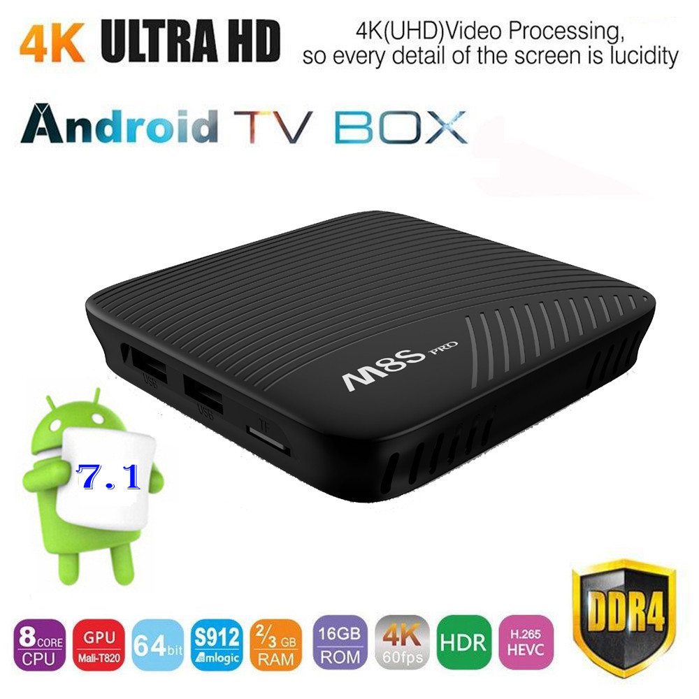 M8S PRO UHD 4K H.265 DDR4 Android 7.1 Octa Core S912 Smart TV BOX 2G / 3GB RAM + 16GB Storage Bluetooth 4.1 HS 5G 11ac Wifi LAN uhd h 265 android 4k pcba assembly pcb circuit boards