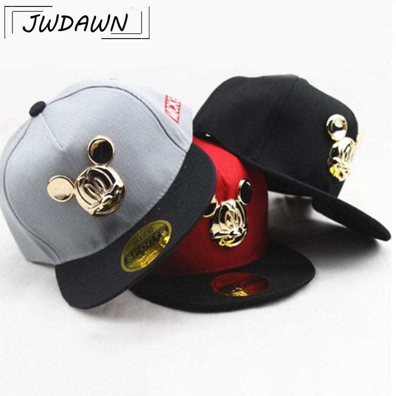 Hats Caps Baseball-Cap Baby-Accessories Mickey Cartoon for Kids Hip-Hop Boy 2-8Y Ear