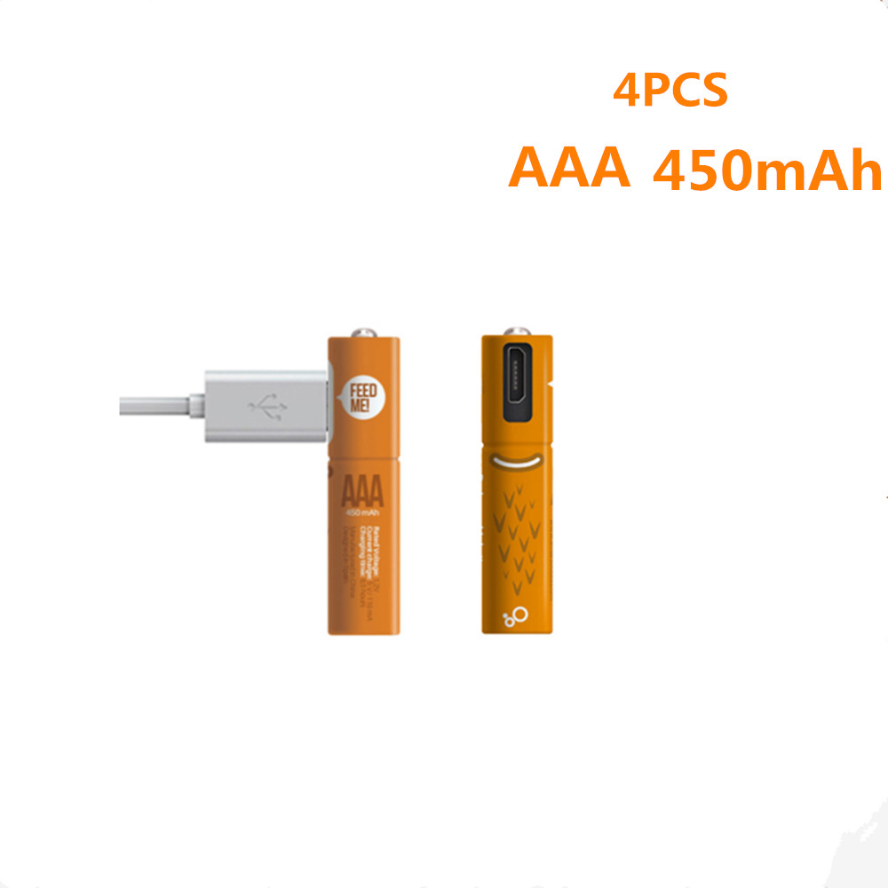 4pcs/lot New 1.2V AAA Rechargeable Battery 450mAh USB Ni-MH Rechargeable Battery With Micro-USB Charging Cable