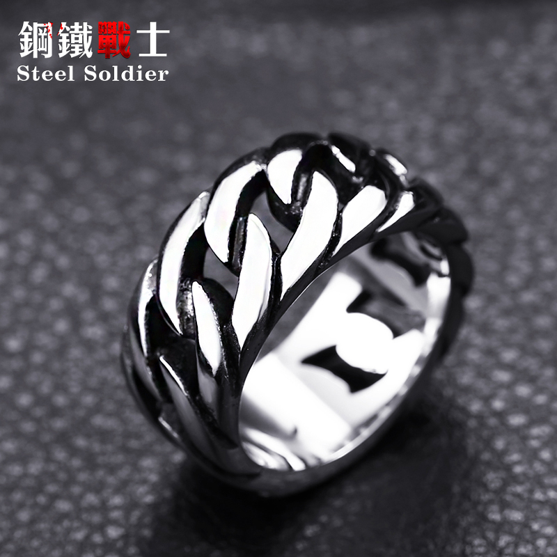 steel soldier titanium steel Gothic chain ring personality retro ring for men stainless steel ring jewelry 2