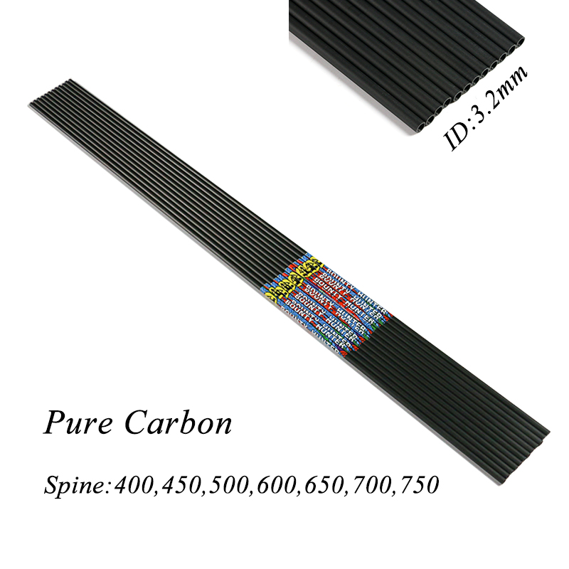 12pcs Linkboy Archery 32inch Pure Carbon Arrow Shafts ID3 2mm DIY Carbon Arrow for Bow Hunting