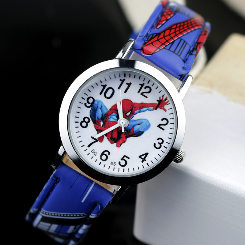 JOYROX Spiderman Pattern Children Watches Cartoon Leather Strap Kids Watch Students Quartz Wristwatch Boys Clock Dropshipping