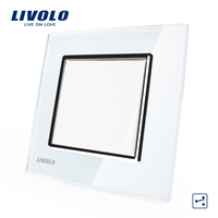 Manufacturer Livolo Luxury White Crystal Glass Panel Push Button 2 Way Switch Smart Home VL C7K1S