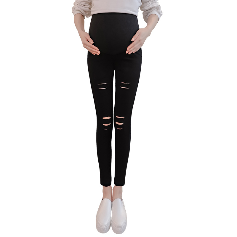 Spring Hole Skinny Maternity Pants Leggings For Pregnant Women Clothes Nursing Pregnancy Pencil Pants Strench Clothing Gravidas