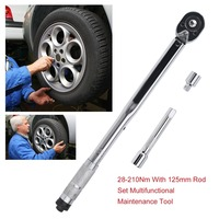 1/2 Inch Quick Release Adjustable Torque Wrench Ratchet Wrench 28 210Nm With 125mm Rod 1/2 To 3/8 Joint Head Hand Tool