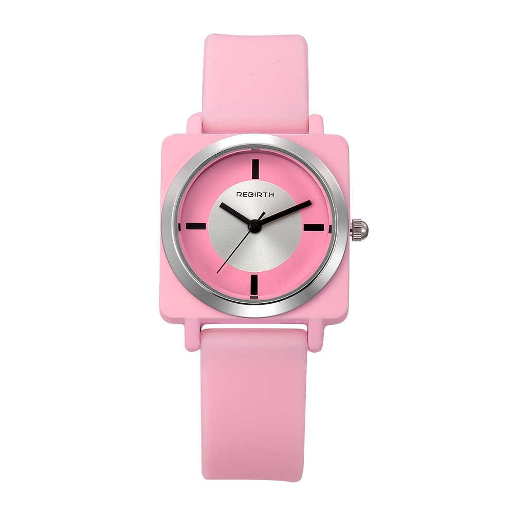 לידה מחדש גבירותיי שעונים אמיתי יד שעונים סיליקון רצועת נשים שעונים כיכר שעון נשים שעון relogio feminino saat