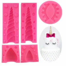 5PCS/Set 3D Unicornio Ear Eye Silicone Mold Baby Birthday Cake Decorating Tools