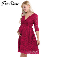 Womens Maternity Elegant Floral Lace Overlay V Neck Half Sleeve Knee Length Pregnant Photography Dress for Formal Evening Party