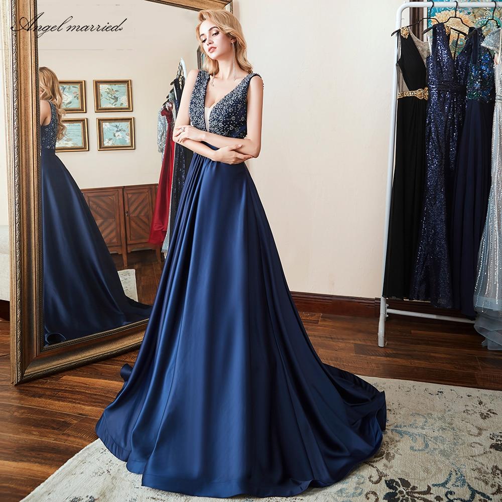Angel married pearls   Evening     Dresses   low v neck navy blue prom gown long backless women formal party   dress   vestido de festa 2019