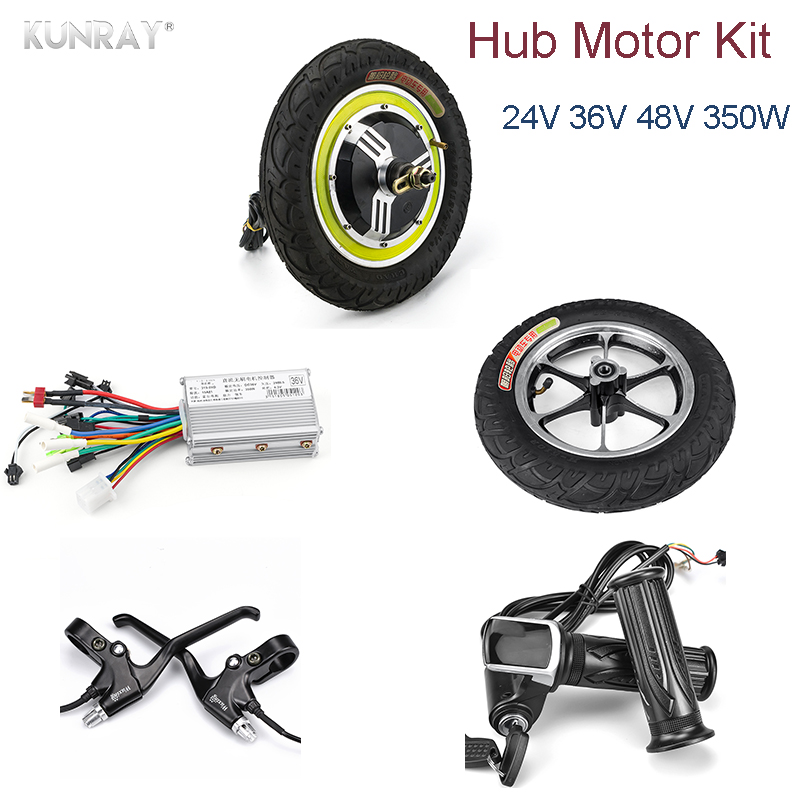 Electric Bicycle 24V- 48V 350W DC Motor Controller 12inch Brushless Hub Motor kiti With LCD Display Brake Electric Scooter Kit