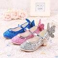 Los niños zapatos de Tacón Alto de La Princesa de Cuero Zapatos de Los Niños de La Mariposa Sinlge Zapatos Para Niños Bebé de La Manera Del Partido de las Lentejuelas Zapatos de Otoño