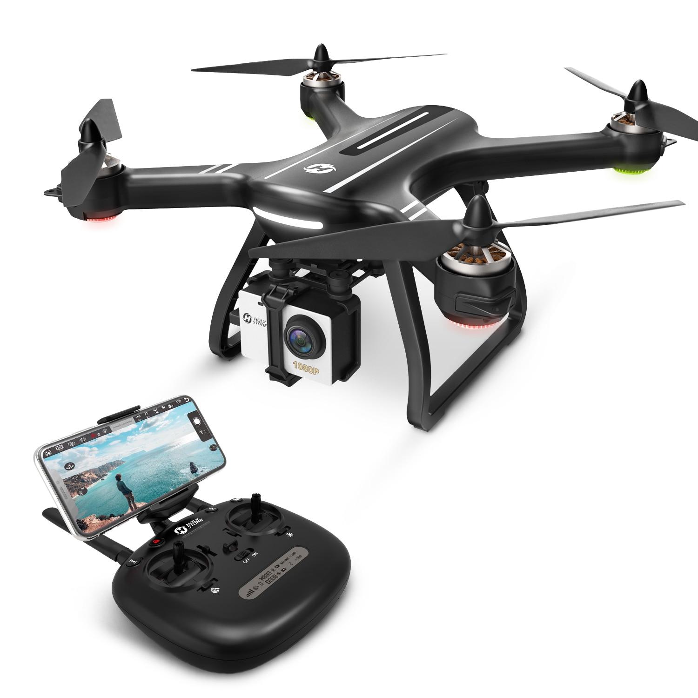UE e EUA Pedra Sagrada HS700 GPS Zangão Selfie com Câmera HD FPV 1000m Faixa De Vôo 2800mAh 5GHz motor Brushless RC Helicóptero