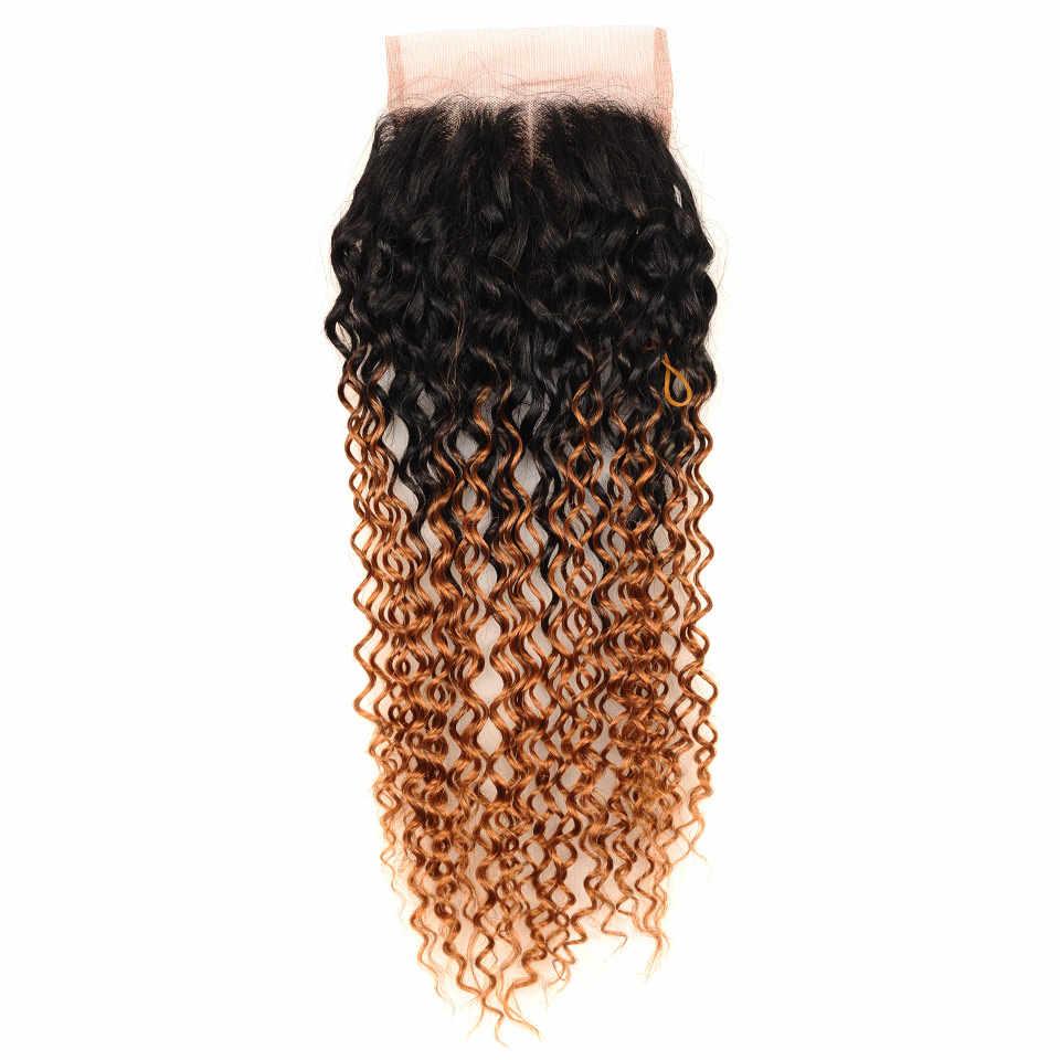 Brasilianische Afro Verworrene Lockige Verschluss 4*4 Mittelteil Ombre Spitze Schließung Menschliches Haar Weben Pinshair Nonremy Haar Rot /burgund/Blonde