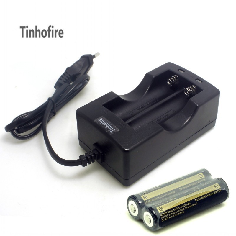 Tinhofire 2PCS 3.7V 18650 battery And 1PC Dual Battery Wired EU US Charger