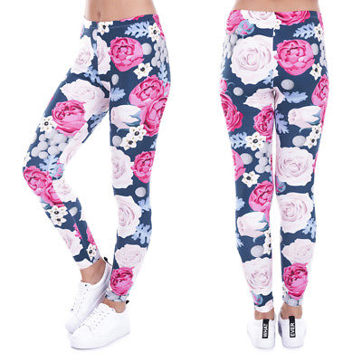 New Fashion Floral Print Fitness Legging Women Light Color Push Up Sweatpants Slim Sexy Legging Pant 2017 Gothic Causal Pants