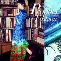 PRINTED SILK WOOL SATIN 140cm Width 40mommes 35 Silk 65 Wool Satin Fabric Vintage For Sewing