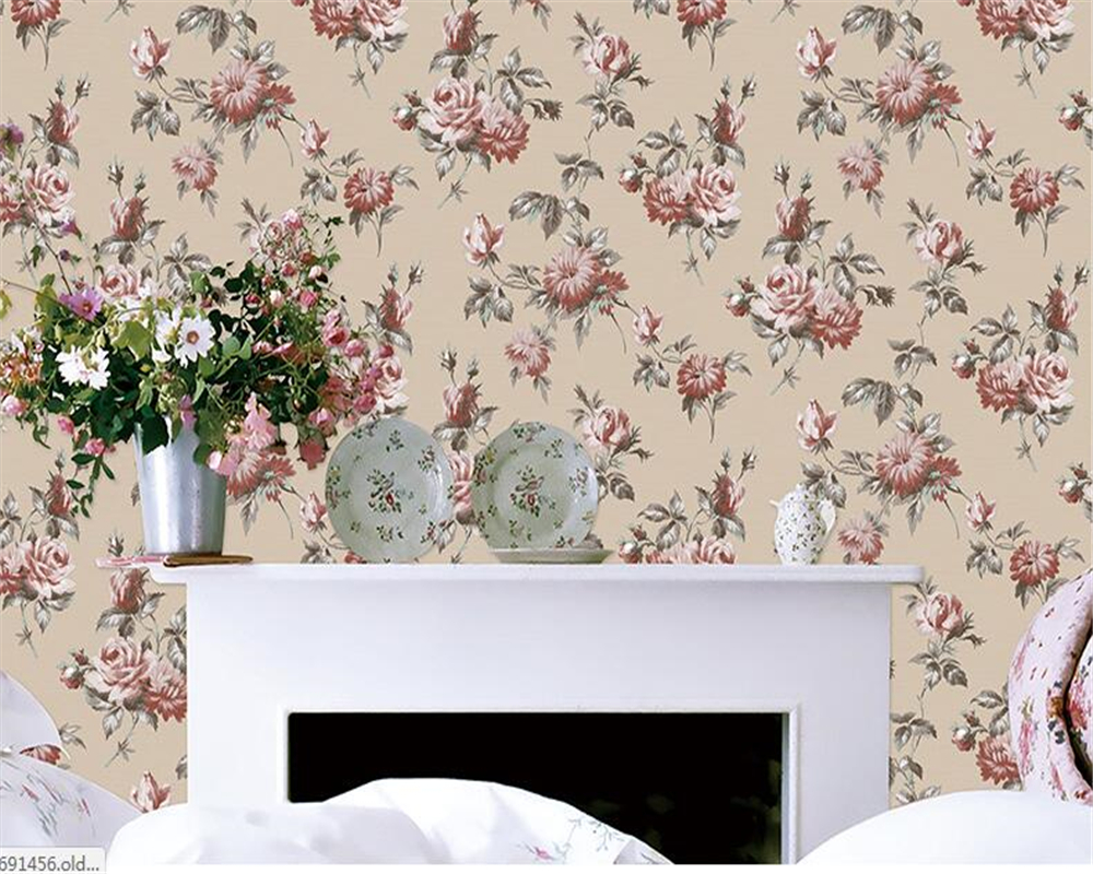Beibehang Rural Country Wallpaper Non-woven Flower Style Bedroom Parlor Sofa Restaurant Background 3d Wallpaper Papel De Parede
