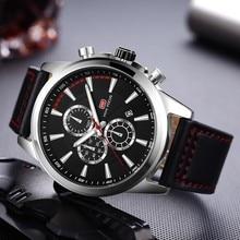 MINI FOCUS Sports Watches Mens 2019 Wristwatch Quartz Watches Men Luxury Brand Waterproof Leather Watch Strap Fashion Male Clock