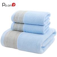 New Arrivals 3pcs Set Cotton Towel Sets Geometric Embroidered Hand Towel Bath Towel Soft Luxury Gift