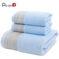 Niebieski 3 Sztuka Zestawy Geometryczne Haftowane Ręcznie Ręcznik Ręcznik Ręczniki Bawełniane Miękkie Luksusowe Prezent Ręcznik Super Jakości Tekstylia Domowe