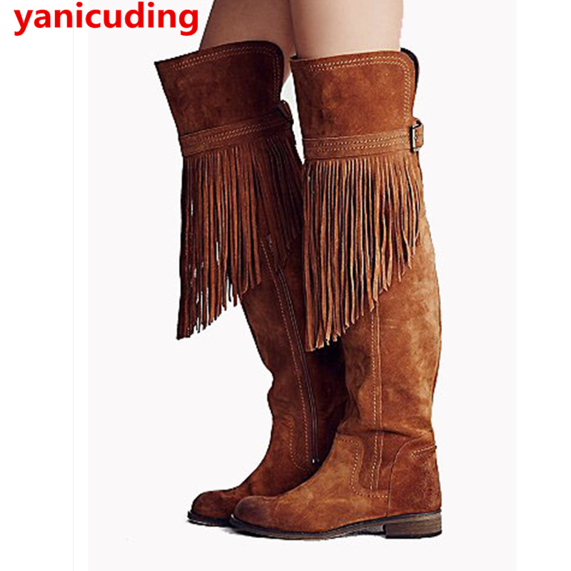 Fringe Embellished Suede Women Winter Shoes Side Zip Design Thigh High Boots Belt Buckle Decor Over Knee Boots Chaussures Femmes ppnu woman winter nubuck genuine leather over the knee snow boots women fashion womens suede thigh high boots ladies shoes flats