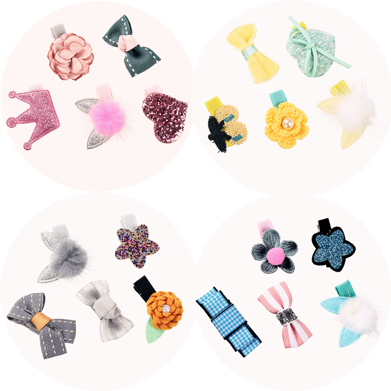 M MISM 5Pcs Ribbon Bow Crown Flower Star Hairgrip Lovely Hair Clips Girls Kids Hair Accessories Set Hairpins Gift 50pcs set printed flower patterns solid hair clips barrettes cute girls hairpins colorful love star headbands for kids hairgrip