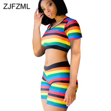Rainbow Striped 2 Piece Outfits For Women Summer Clothes O Neck Short Sleeve Crop Top And  Biker Shorts Sweatsuits Matching Sets недорго, оригинальная цена